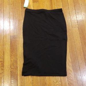Black Cotton Pencil Skirt